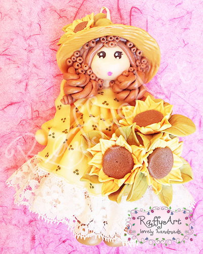 "Bambolina in pasta di mais ""My Country Dolls – Miss Sunflower"""