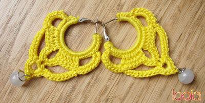 orecchini uncinetto in cotone giallo