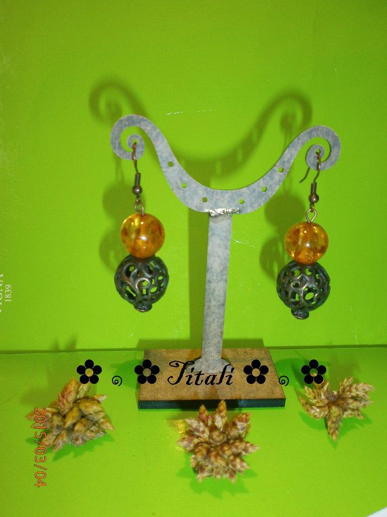 Orecchini ambra e bronzo