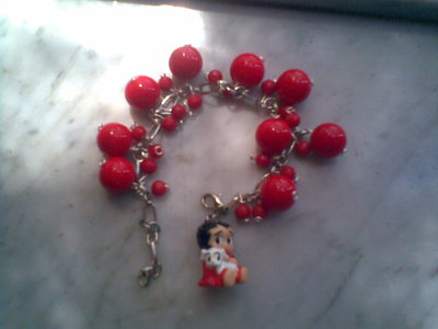 Bracciale BETTY BOOP con perle rosse