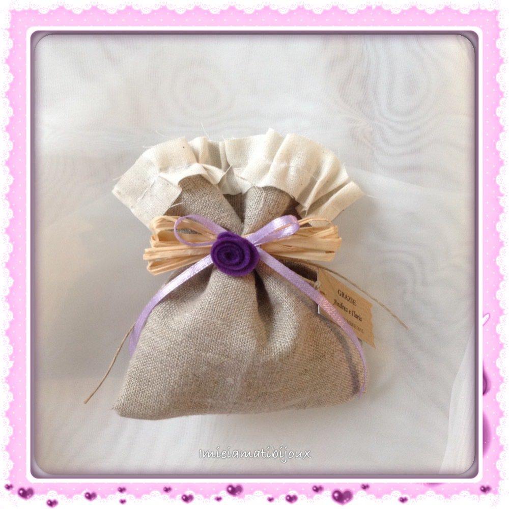 Sacchetto country fiorellino panno lenci