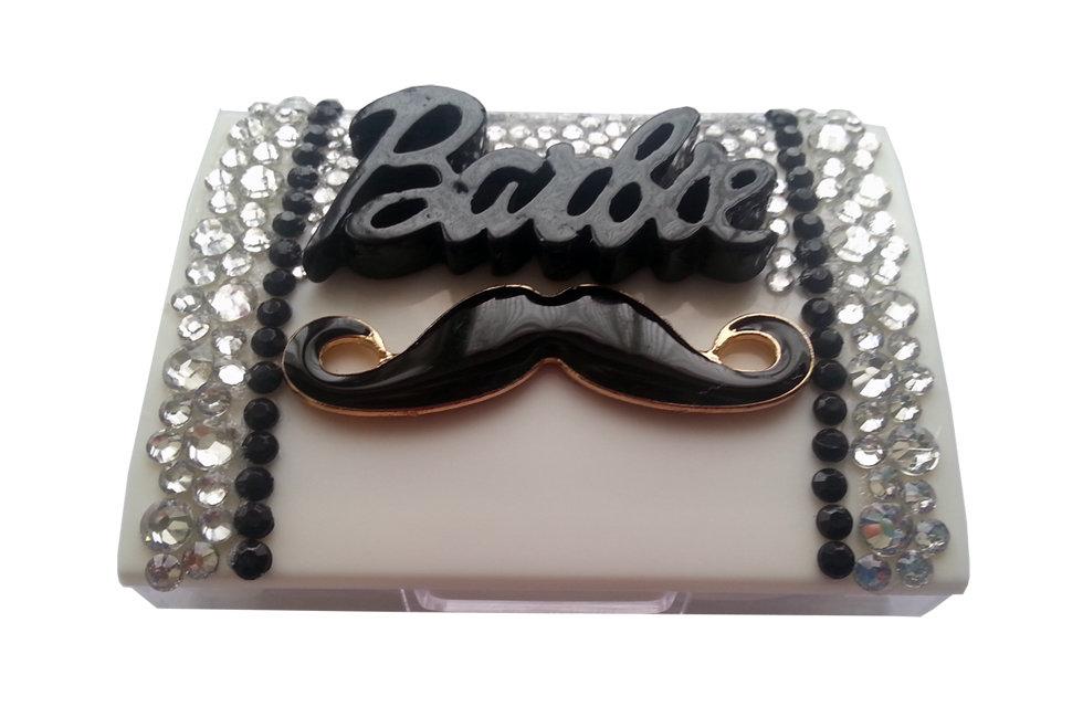 Portalenti a contatto baffi Barbie strass fashion idea regalo donna - PEZZO UNICO!
