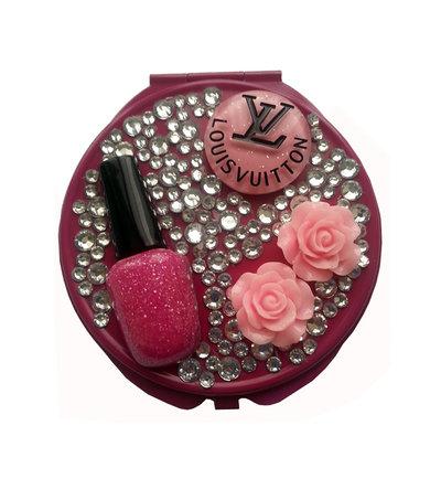 Specchietto da borsetta compatto make up strass smalto idea regalo - PEZZO UNICO!