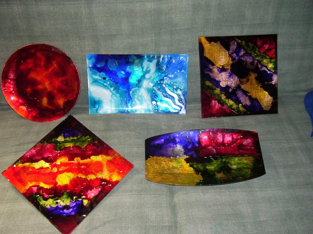 piatto vetro colorink e foglia oro