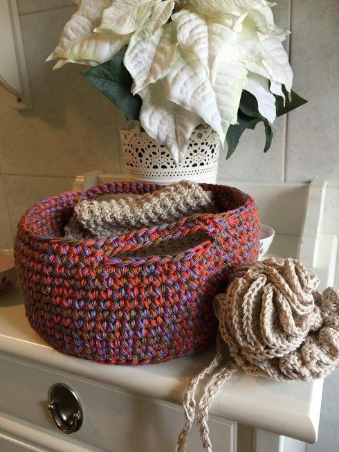 Schema Uncinetto - Instant Download: SPA SET per il bagno: guanto, scrub schiena, pouf e cestino