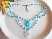Collana collier di cristallo sfaccettato nei colori crystal e azzurro tiffany