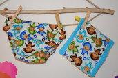 Coordinato copri pannolino e lavetta con scimmiette in puro cotone fatto a mano