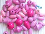 maxi lotto 40 pz perle legno toni rosa