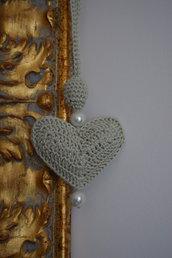 collana lunga HEART & PEARLS uncinetto