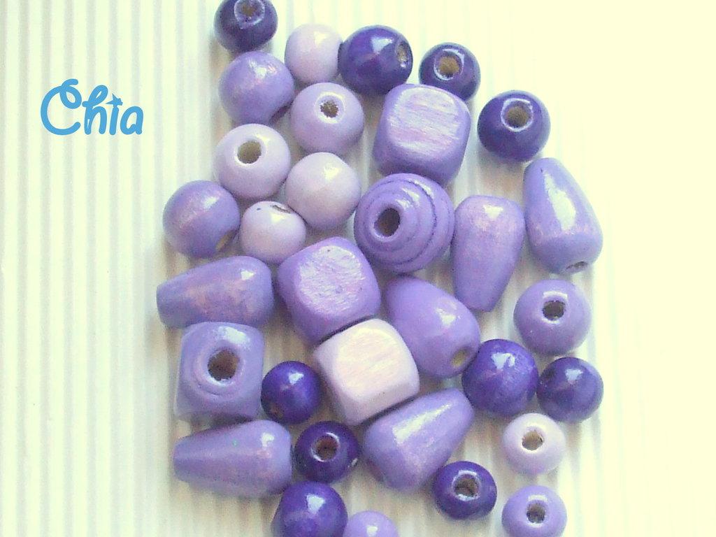 lotto 30 perle legno nei toni del viola