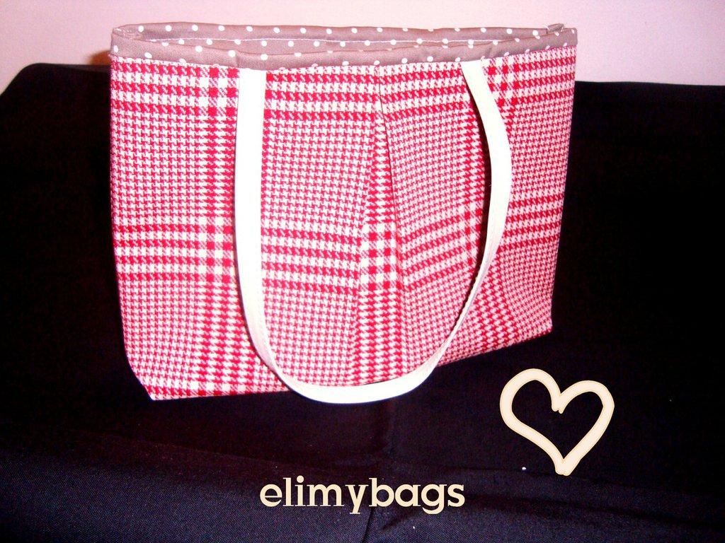 Borsa pied-de-poule bianco rossa di stoffa handmade♥