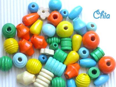 maxi lotto 50 pz perle legno vari colori e dimensioni