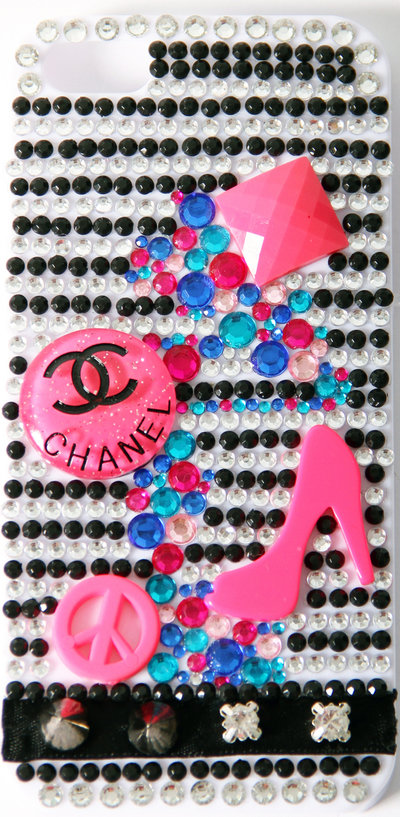 Cover fashion bianca con strass iPhone 5 5S 5G