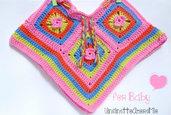 Poncho bimba 3-6 mesi ad uncinetto - hippie flower baby