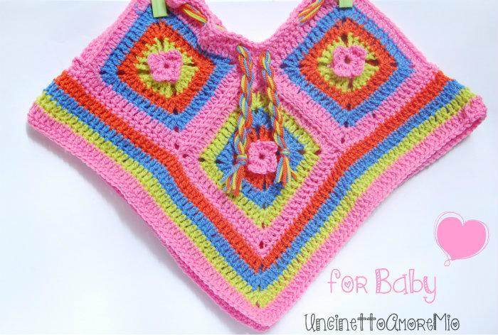 Poncho Bimba 3 6 Mesi Ad Uncinetto Hippie Flower Baby Bambini