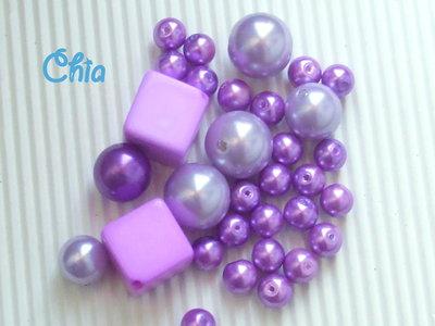 lotto 40 pz perle nei toni del lilla di diverse forme e dimensioni