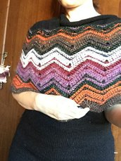 Pattern Uncinetto – download immediato: coprispalle multicolor zig zag, scialle, poncho