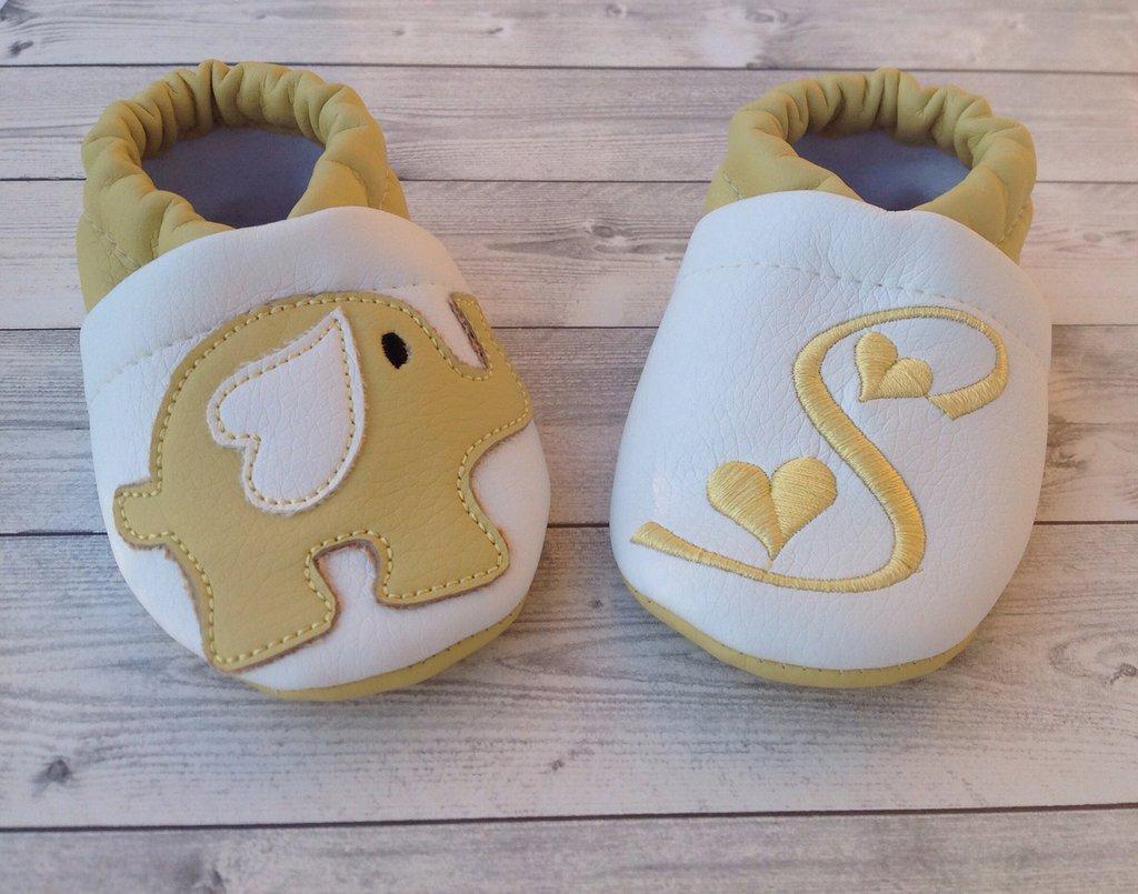 Scarpine babbucce ecopelle Elefantino personalizzate con iniziale - Bimbi 3-6 mesi