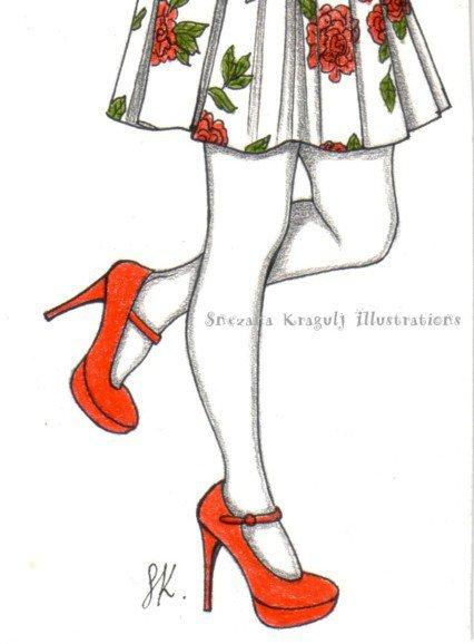 ACEO Original, artist trading card-illustrazione di moda disegnata a mano