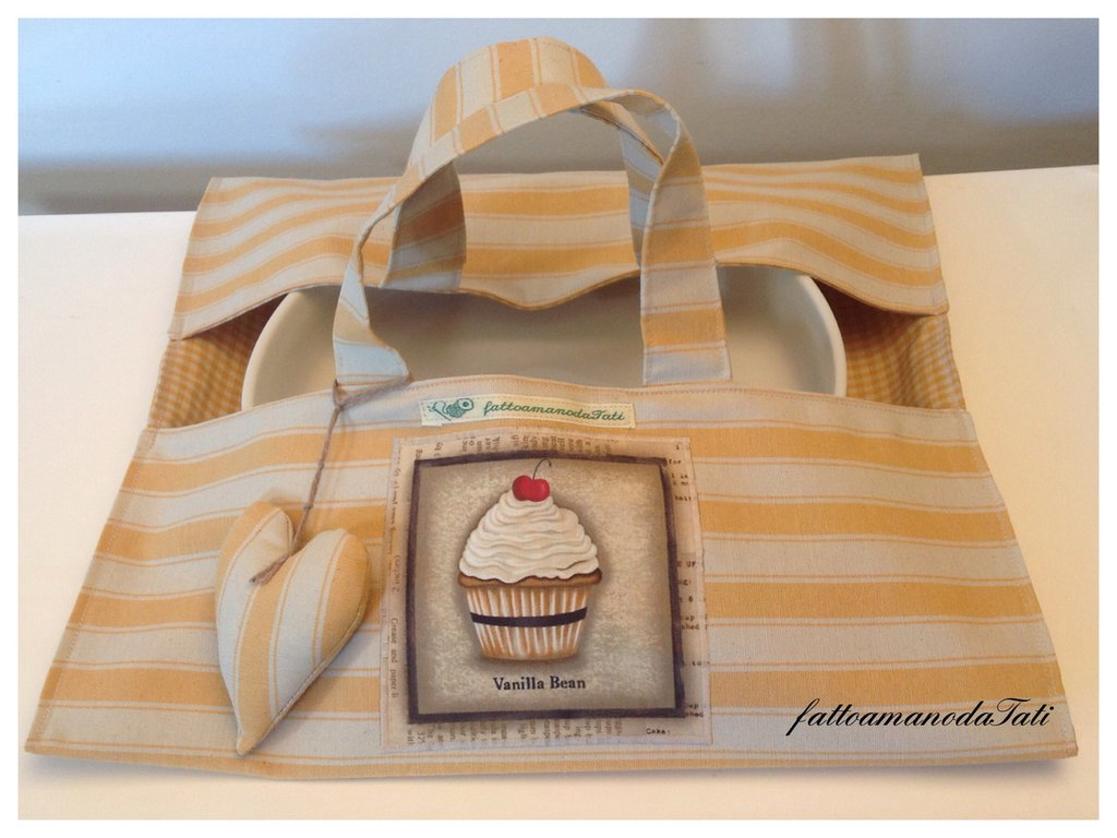 Porta torte in cotone a righe gialle con appliquè cupcake