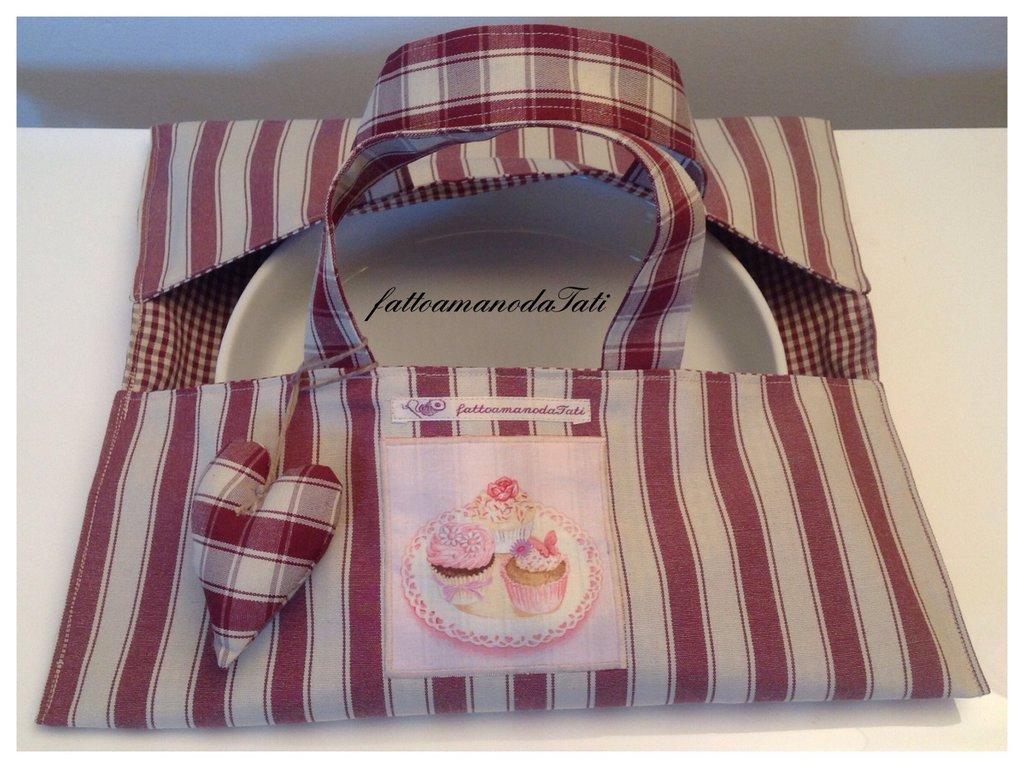 Porta torte in cotone a righe bordò con appliquè pasticcini
