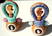 Bomboniera Sole / Luna con fischietto in terracotta