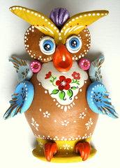 Civetta / Gufo da appendere in terracotta