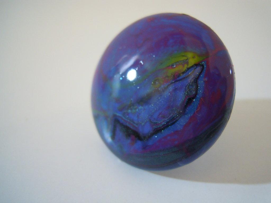 Anello bottone smalto viola/blu