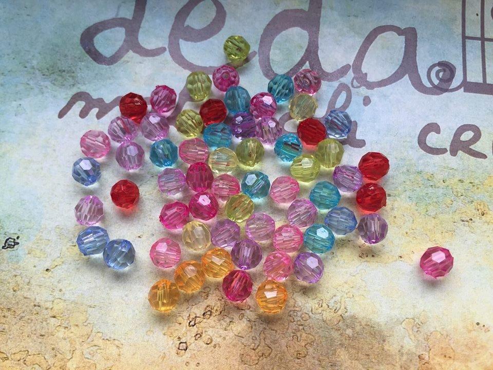 50 Perline acriliche colori misti 6mm