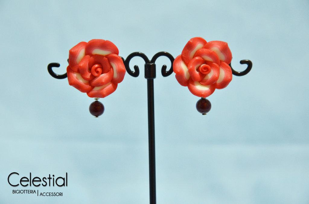 Orecchini Rosa Rossa Fimo