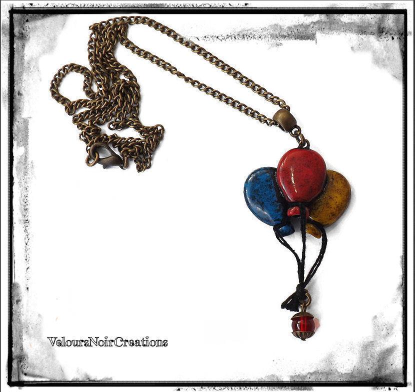 Collana in bronzo con ciondolo palloncini creato a mano vintage