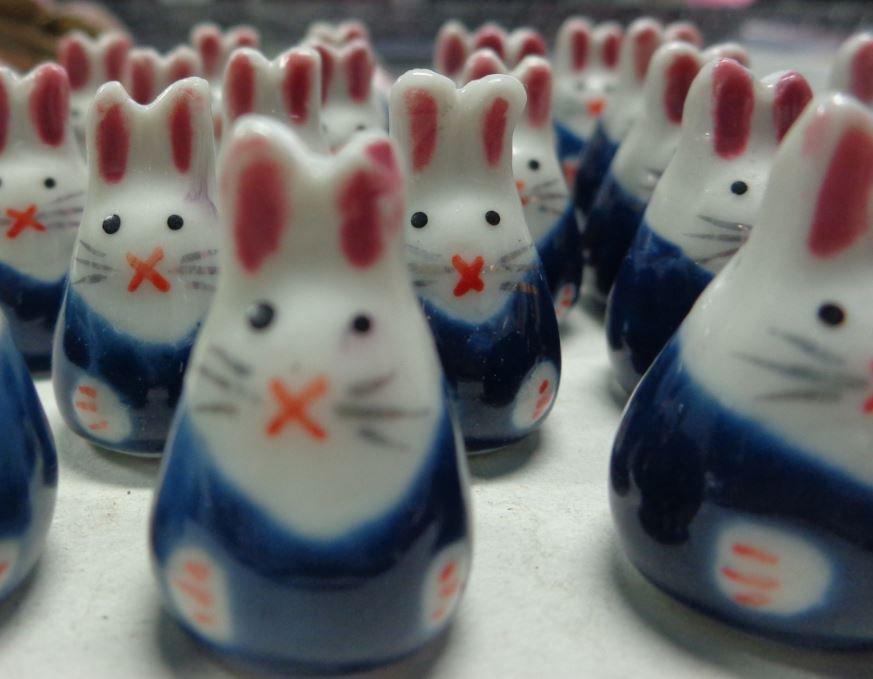 5 Perline Coniglietti BLU Porcellana