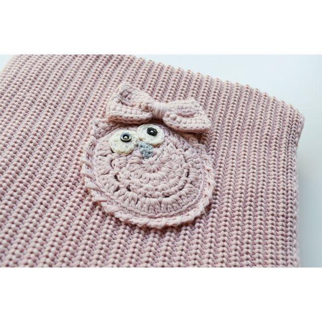 Copertina Cottonlove Rosa Cipria lavorata a maglia in cotone biologico