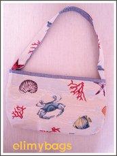 Borsetta mare corallo stoffa handmade☆