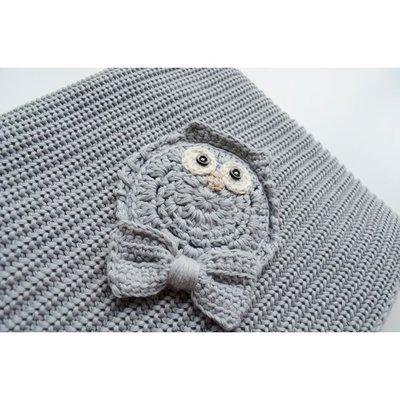 Copertina Cottonlove Grigio lavorata a maglia in cotone biologico