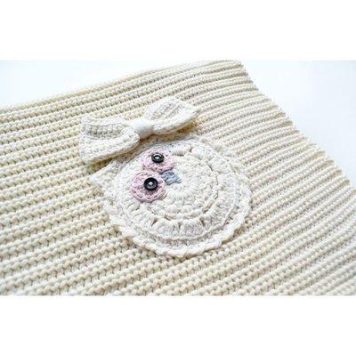 Copertina Cottonlove Crema con Gufo lavorata a maglia in cotone biologico