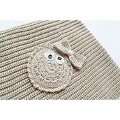 Copertina Cottonlove Beige con Gufo lavorata a maglia in cotone biologico