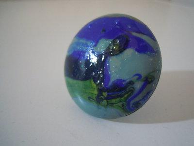 Anello bottone smalto turchese / azzurro /blu