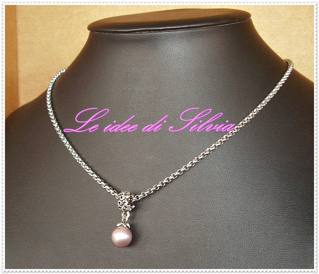 Collana in acciaio con perla