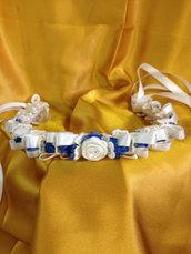 Cerchiello Angy in  nastro di raso e piccole rose blu oceano
