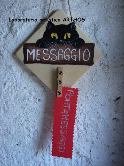 Gatto porta messaggi foto memo in legno molletta da - Porta messaggi ...