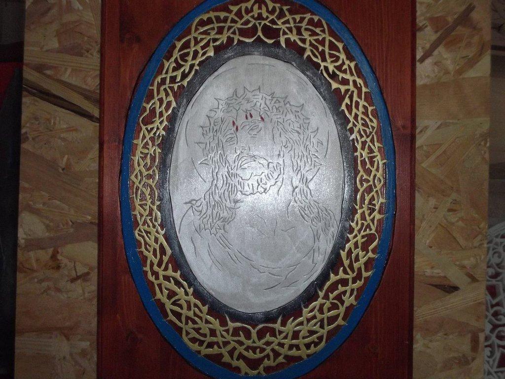 icona di gesù pirografato