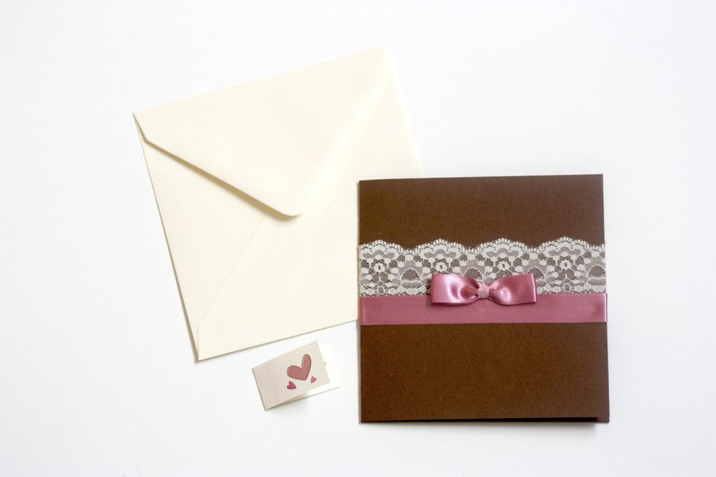 Partecipazioni e inviti di matrimonio, realizzati interamente a mano, 13 x 13 cm