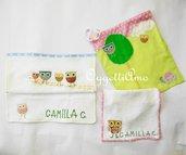 Set asilo: bavaglio, asciugamani e sacca con allegri gufetti e civette colorate!