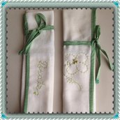 Portaposate in tessuto color bianco, fatto a mano