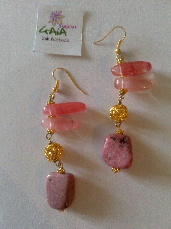Orecchini chips in agata rosa, pietra rosa antico variegata
