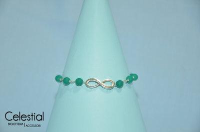 Bracciale con perle e infinito - Verde