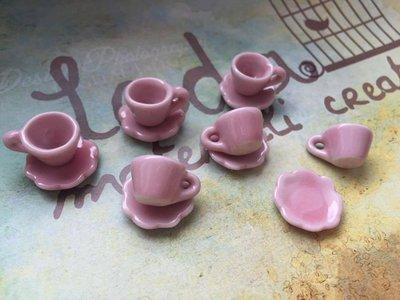 Tazzina e piattino in miniatura rosa