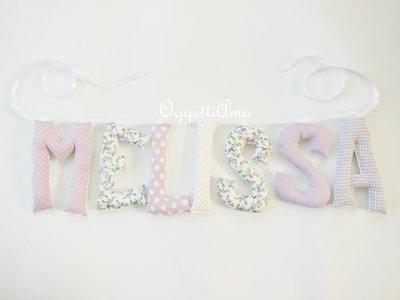 Melissa: lettere di stoffa imbottite glicine e lilla per decorare la cameretta!