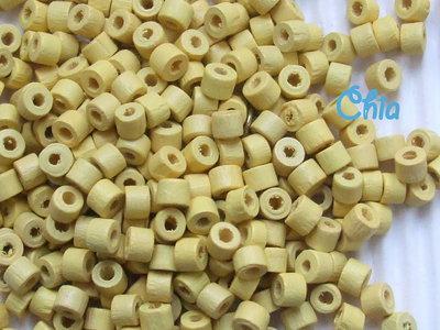 lotto perline legno gialle a cilindretto